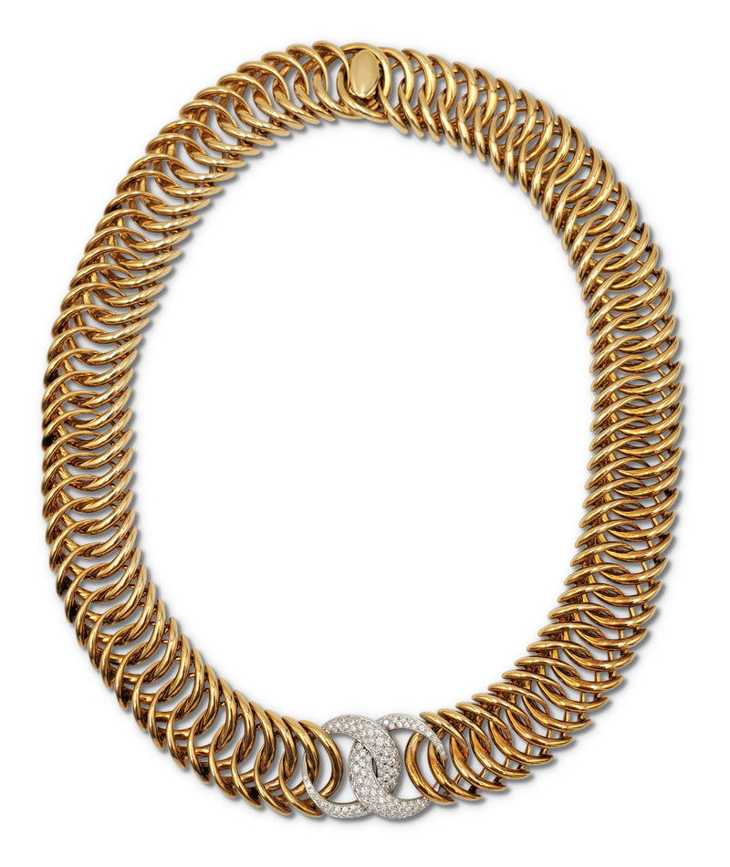 Verdura Double Crescent Diamond Gold Necklace