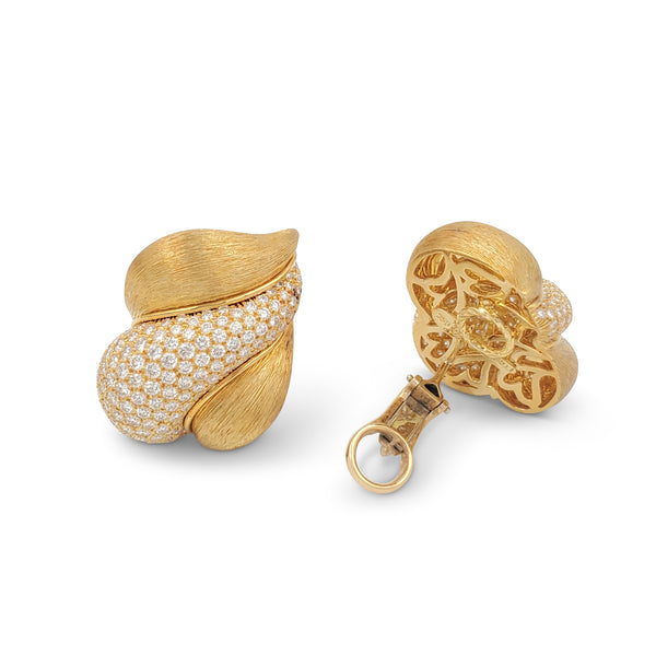 Henry Dunay Sabi Gold and Diamond Pave Earrings