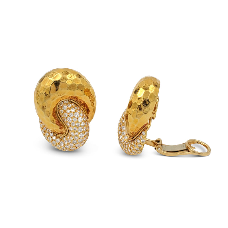 Henry Dunay Hammered Gold and Diamond Earrings