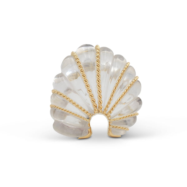 Seaman Schepps Gold and Rock Crystal Fan Brooch