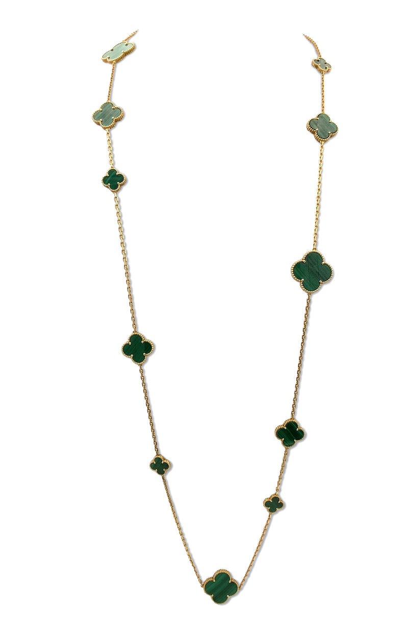 Van Cleef & Arpels Magic Alhambra 16 Motif Malachite Necklace