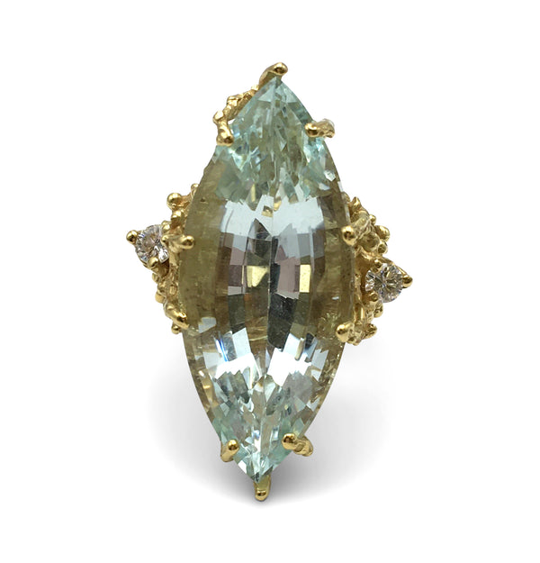 House of Murat Aquamarine and Diamond Cocktail Ring