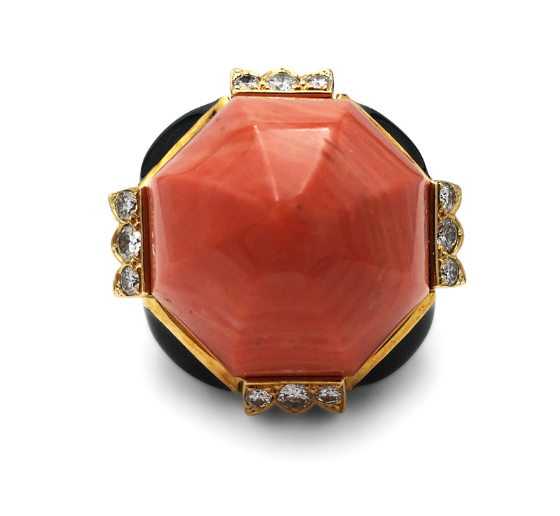 David Webb Carved Coral Enamel and Diamond Cocktail Ring