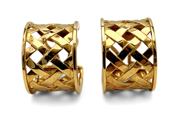 Verdura Yellow Gold Criss Cross Earrings