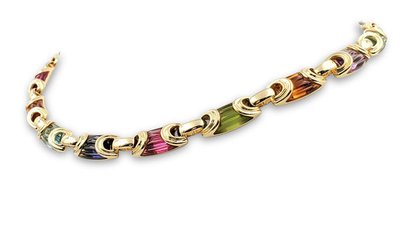Bulgari Yellow Gold Carved Multi-Gemstone Link Necklace