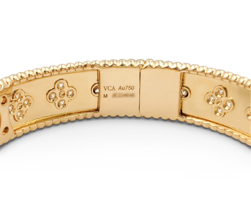Van Cleef & Arpels Perlée Clover Gold and Diamond Bangle