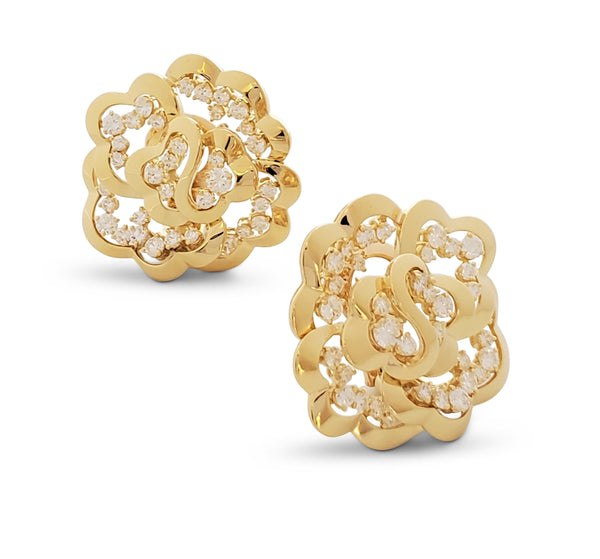 Van Cleef & Arpels Yellow Gold and Diamond Open-Work Flower Earrings