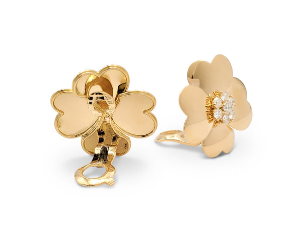 Van Cleef & Arpels Cosmos Yellow Gold and Diamond Earrings