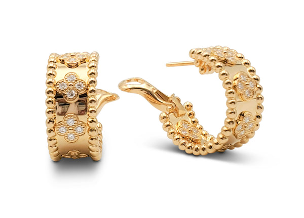 Van Cleef & Arpels Perlée Yellow Gold and Diamond Earrings