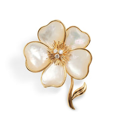 Van Cleef & Arpels Clématite Yellow Gold Mother of Pearl Pin