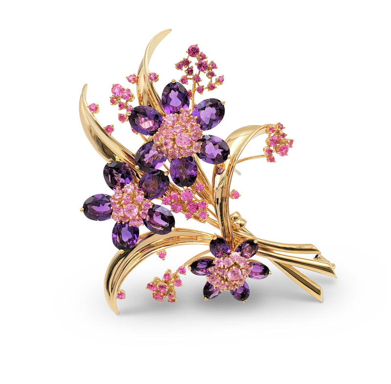 Van Cleef & Arpels Hawaii Bouquet Pink Sapphire and Amethyst Brooch