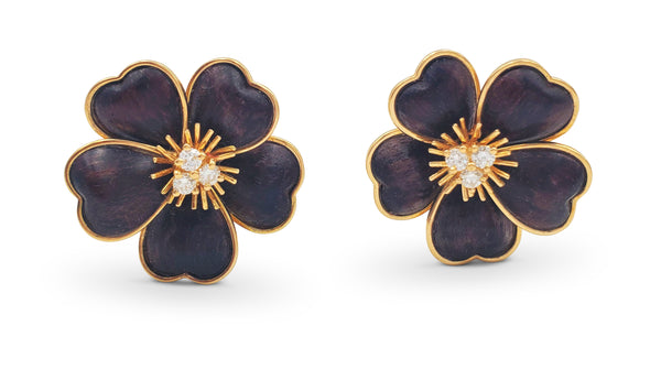 Van Cleef & Arpels Clématite Yellow Gold Bois D'amourette Letter Wood Earrings