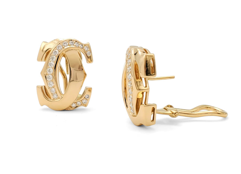 Cartier Penelope Double-C Yellow Gold and Diamond Earrings