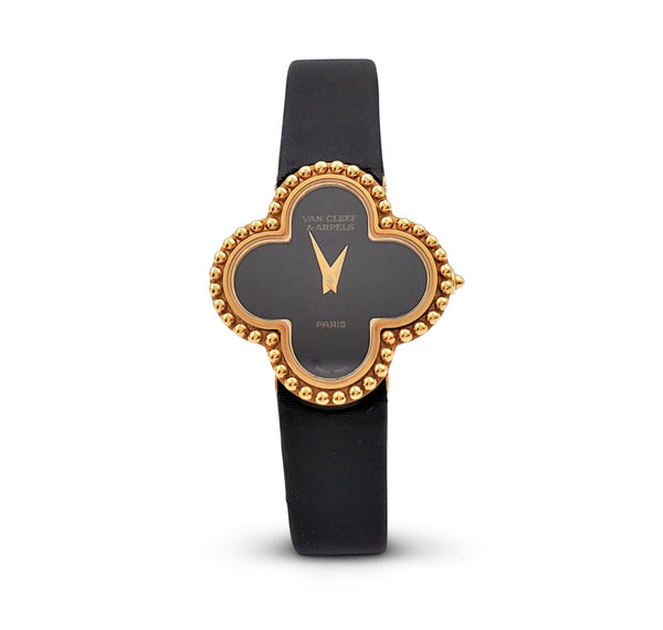 Van Cleef & Arpels Alhambra Onyx Dial Watch, Small Model