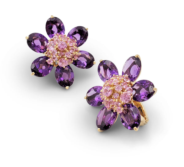 Van Cleef & Arpels Hawaii Pink Sapphire and Amethyst Earrings