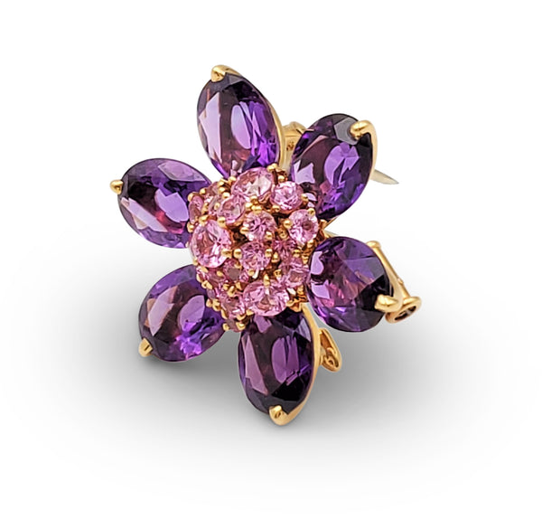 Van Cleef & Arpels Hawaii Pink Sapphire and Amethyst Pendant Brooch
