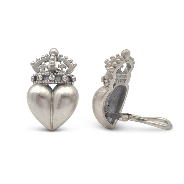 Vintage Barry Kieselstein-Cord White Gold Heart and Crown Earrings