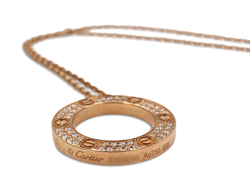 Cartier Love Rose Gold Diamond Circle Charm Necklace