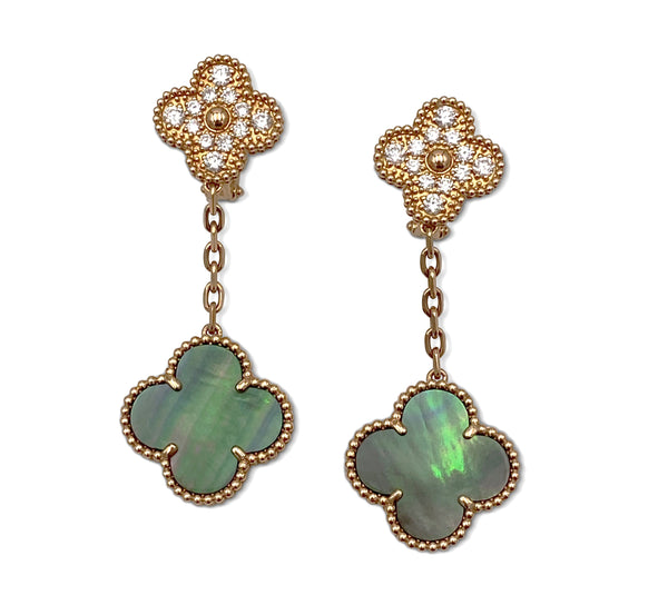 Van Cleef & Arpels Magic Alhambra Diamond and Mother of Pearl Earrings