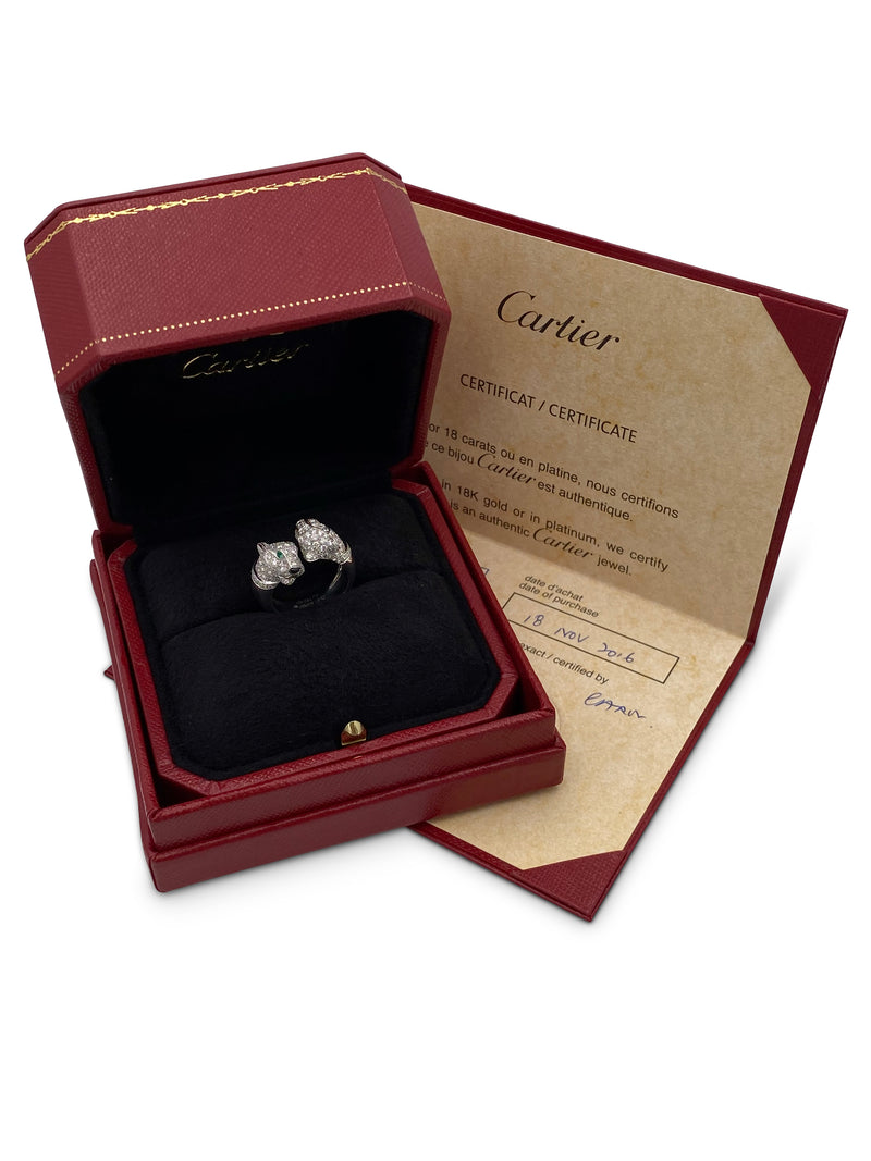 Cartier Panthère de Cartier Double Panthere White Gold Diamond Emerald and Onyx Ring
