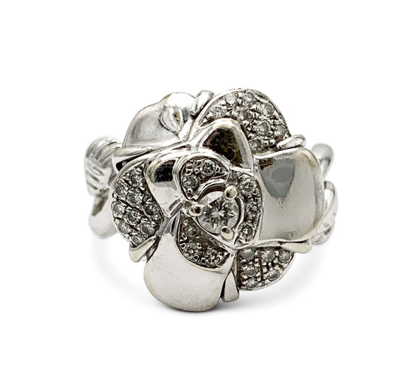 Chanel Camillia White Gold and Diamond Ring
