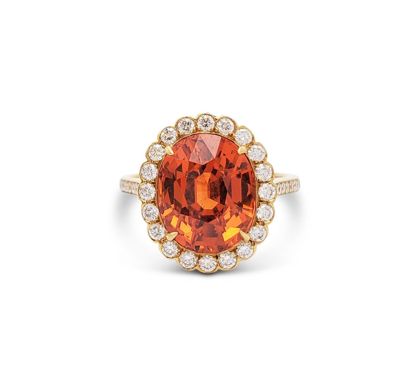 Tiffany & Co. Spessartite Garnet and Diamond Ring