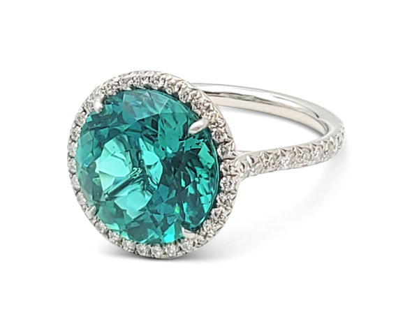 Tiffany & Co. Soleste Platinum Green Tourmaline and Diamond Ring