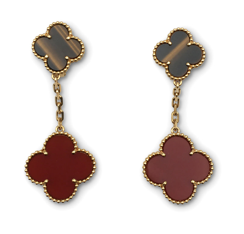 Van Cleef & Arpels Magic Alhambra Tigers Eye and Carnelian Earrings