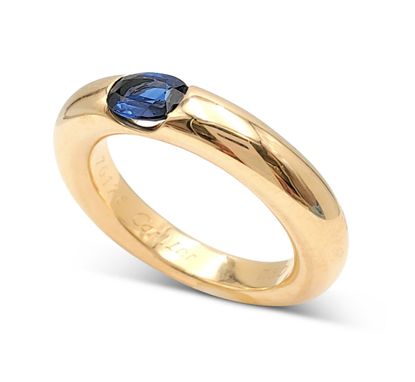 Cartier Ellipse Gold and Sapphire Ring