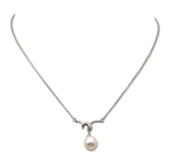 Mikimoto White Gold Pearl and Diamond Pendant Necklace