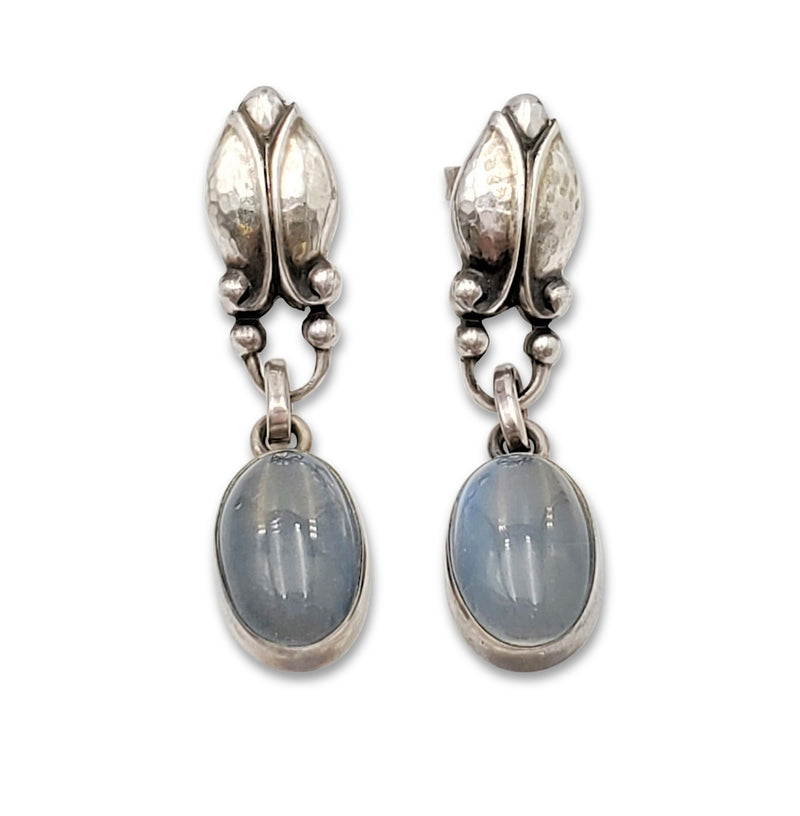 Vintage Georg Jensen Sterling Silver Moonstone Drop Earrings, Number 17