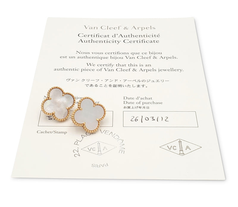 Van Cleef & Arpels Magic Alhambra Gold and Mother of Pearl Earrings