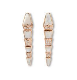 Bulgari Serpenti Rose Gold Diamond and Mother of Pearl Earrings