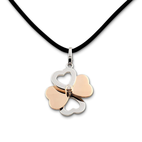 Cartier Two-Tone Gold and Diamond Spinning Heart Clover Pendant Necklace