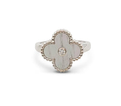 Van Cleef & Arpels Vintage Alhambra White Gold Mother of Pearl Diamond Ring