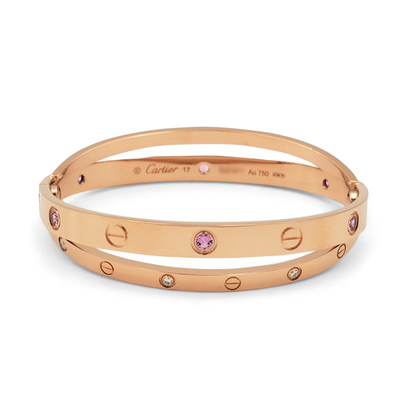 Cartier Love Rose Gold Diamond and Pink Sapphire Bracelet
