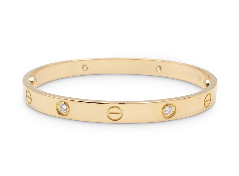 Cartier Love Yellow Gold 4 Diamond Bracelet