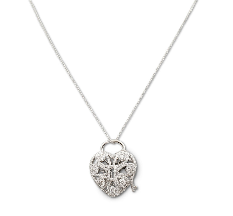 Tiffany & Co. White Gold and Diamond Filigree Heart and Key Pendant Necklace
