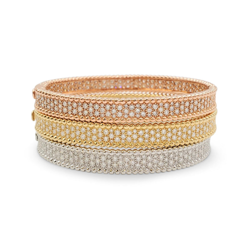 Tri-Colored Gold and Diamond Bracelet Set