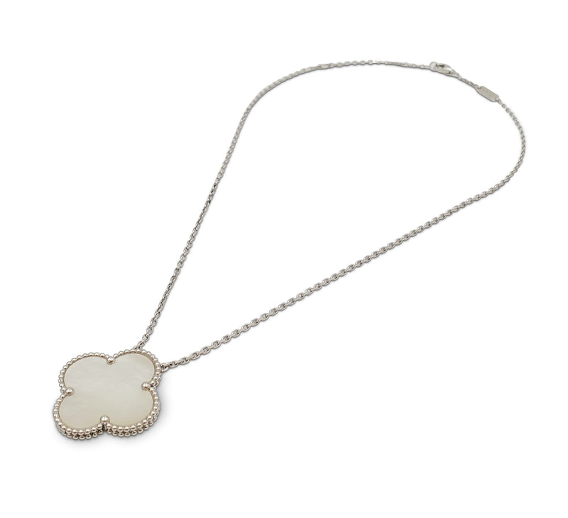 Van Cleef & Arpels Magic Alhambra White Gold Mother of Pearl Pendant Necklace