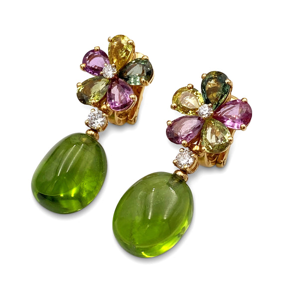 Bulgari Multi-Color Sapphire Diamond Floral Earrings