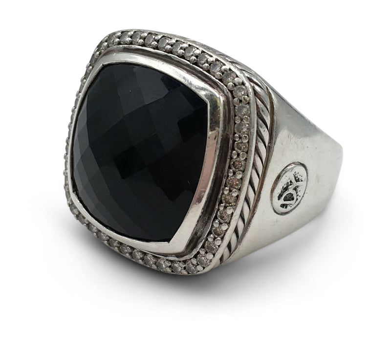 David Yurman Albion Silver Diamond Onyx Ring