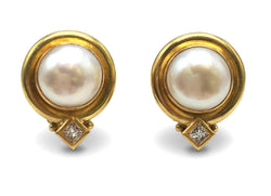 Elizabeth Locke Mabe Pearl Gold and Diamond Earrings