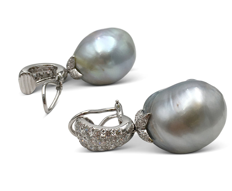 Assael Baroque Pearl and Diamond Earrings