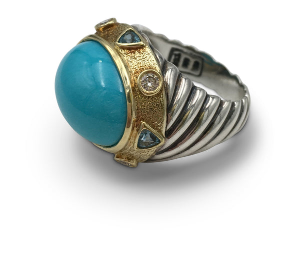 David Yurman Turquoise Zircon Diamond Ring