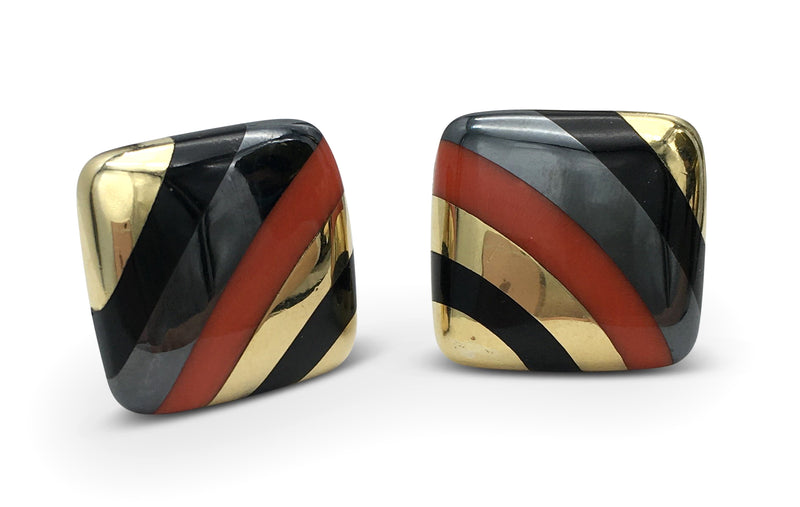 Vintage Tiffany & Co. Coral Hematite and Onyx Inlay Earrings