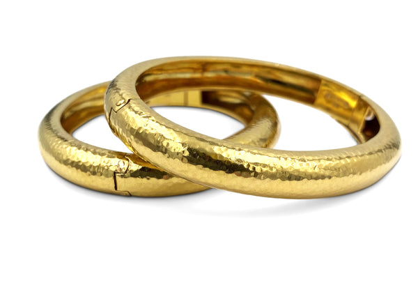 David Webb Hammered Gold Bangles