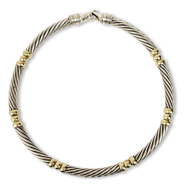 David Yurman Sterling Silver and 14 Karat Gold Cable Choker Necklace