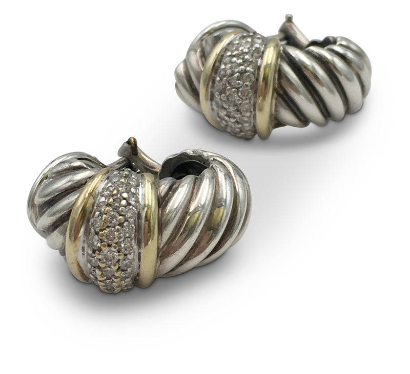 David Yurman Silver Gold and Diamond Cable Earrings