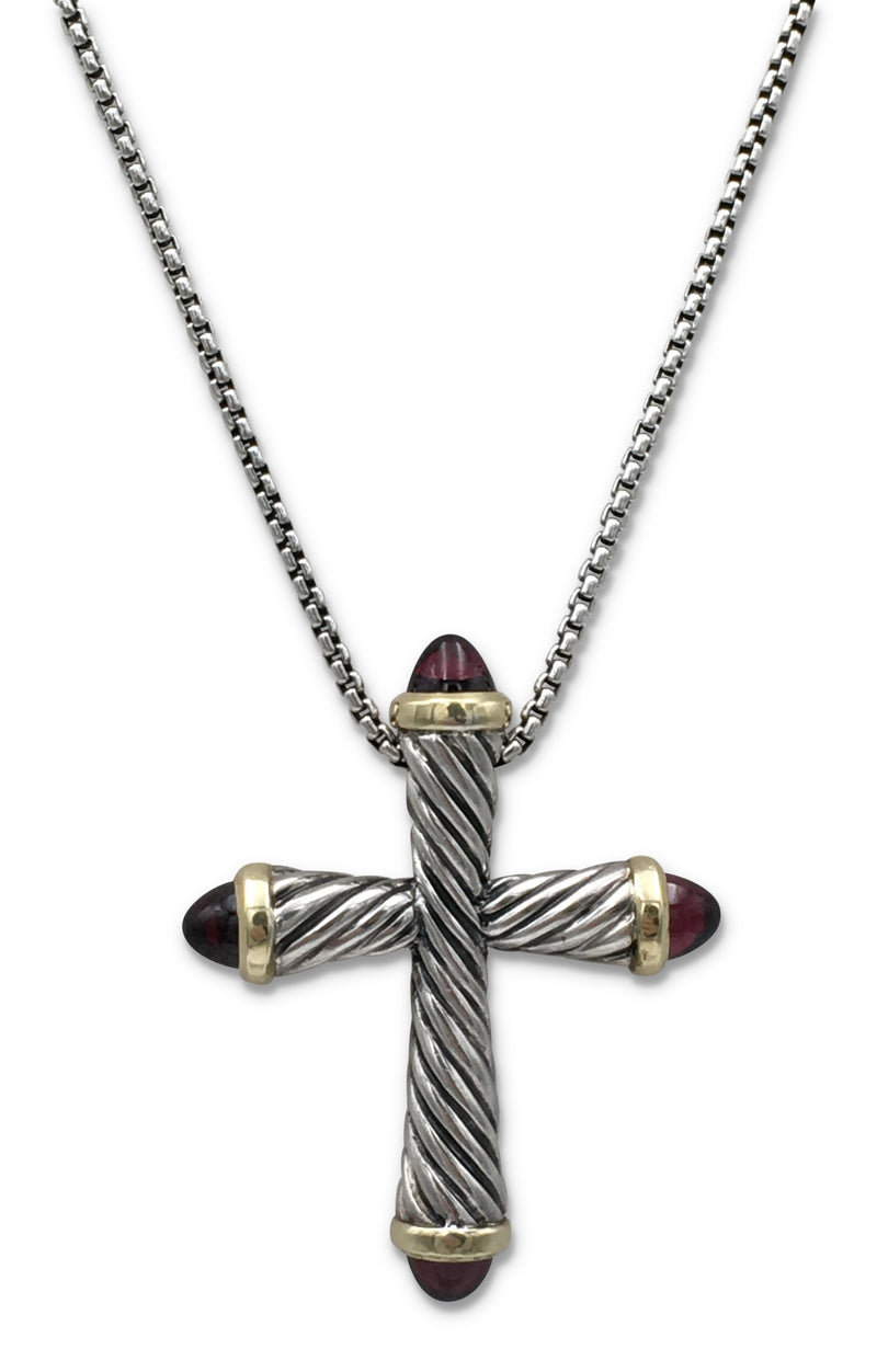 David Yurman Sterling Silver Yellow Gold and Garnet Cross Pendant Necklace